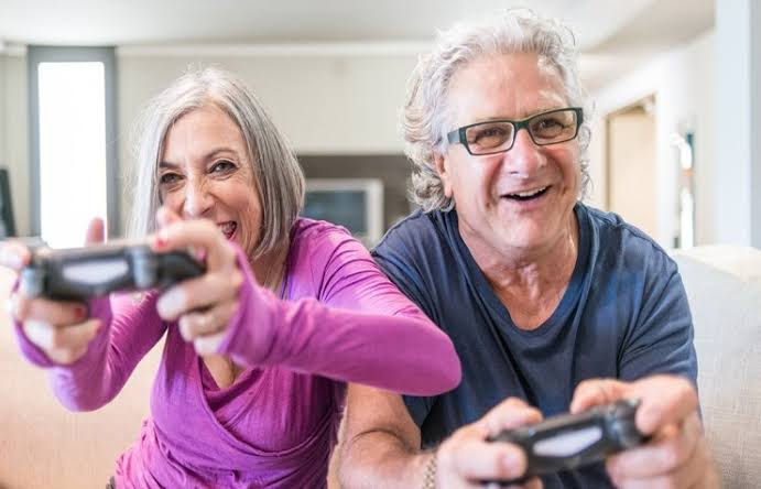 Adults playing video game