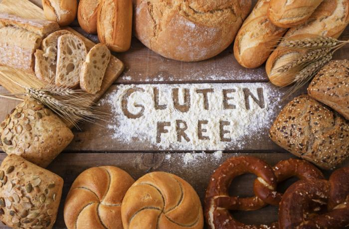 Gluten free signs among bread