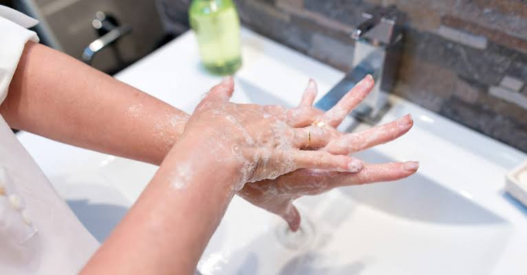 Washing of hand with soap