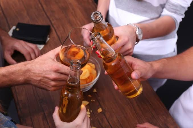 Friends drinking alcohol