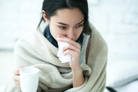 A lady having common cold