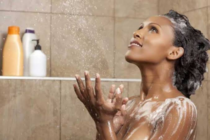 A lady taking shower